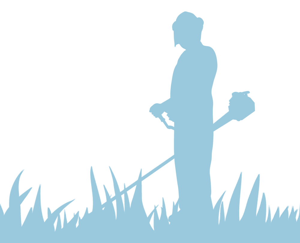 雑草を刈る男性